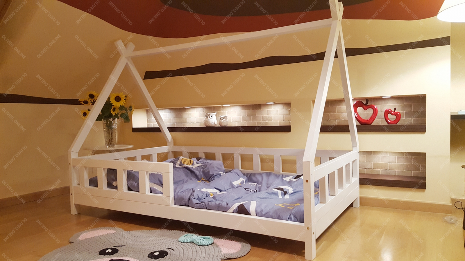 łóżko Domek Drewniane Z Barierkami Tipi Dla Dzieci